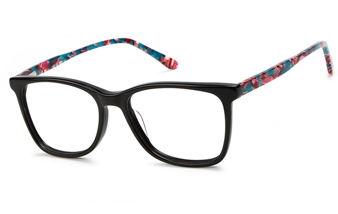 200541 Rectangle Spring Hinge Glasses, Black