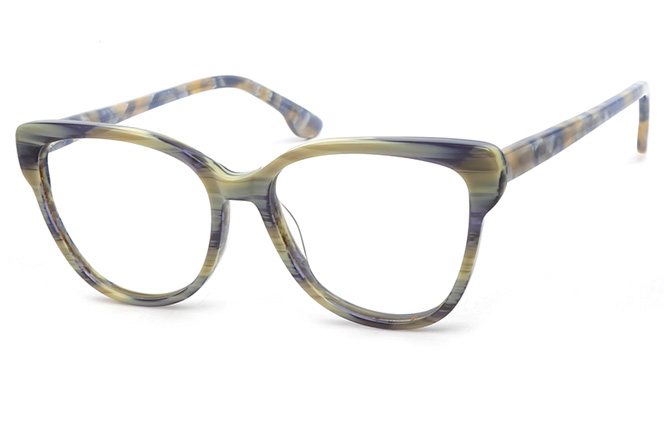 200547 Cateye Spring Hinge Glasses, Green and blue;red;white