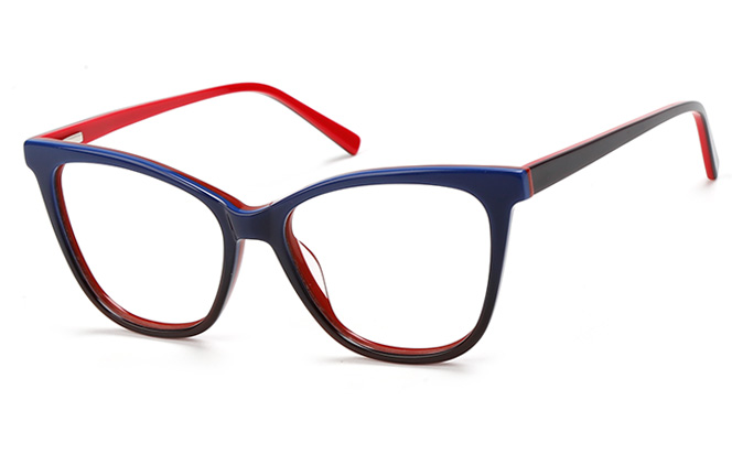 200549 Cateye Spring Hinge Glasses, Grey and milk;blue and red