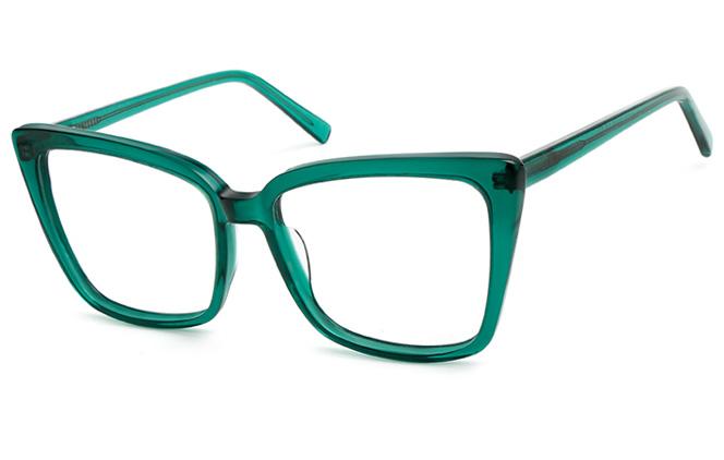 200552 Cateye Spring Hinge Glasses, Emerald green;black