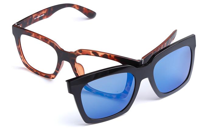200554 Square Magnetic Clip on Glasses, Black;tortoiseshell;red and black;purple;blue