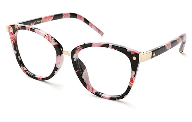 Dunlap Rectangle Eyeglasses, Black;floral