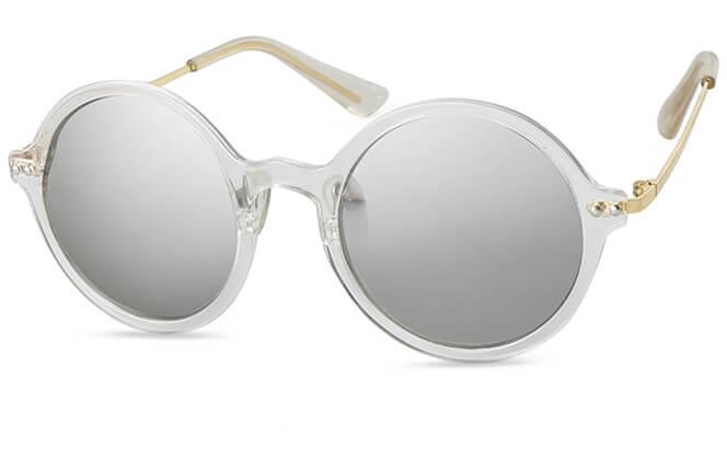 Deividas Round Polarized Sunglasses, Silver