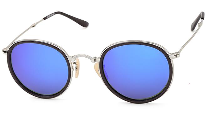 Tabitha Round Sunglasses, Silver