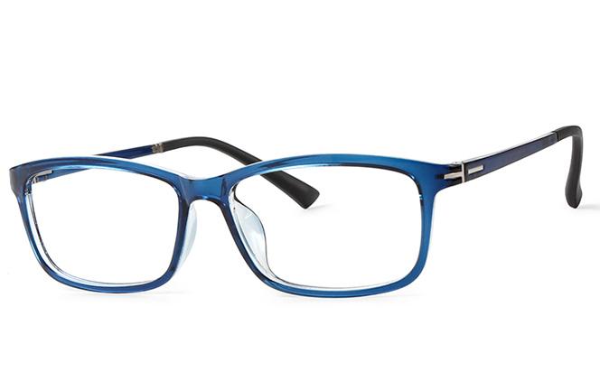 B00766 Rectangle Glasses, Black;dark blue