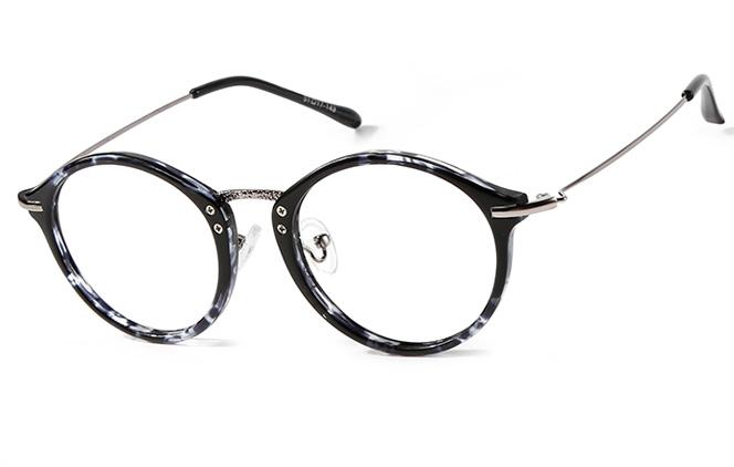 B00877 Round Glasses, Black;tortoiseshell;ink;floral