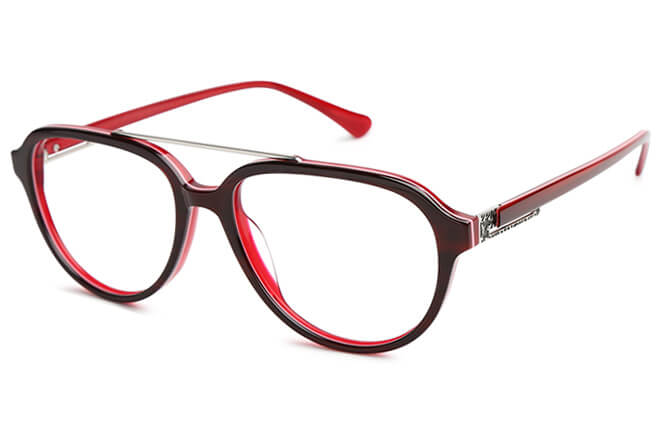Krystal Aviator Eyeglasses, Tortoiseshell;black;red