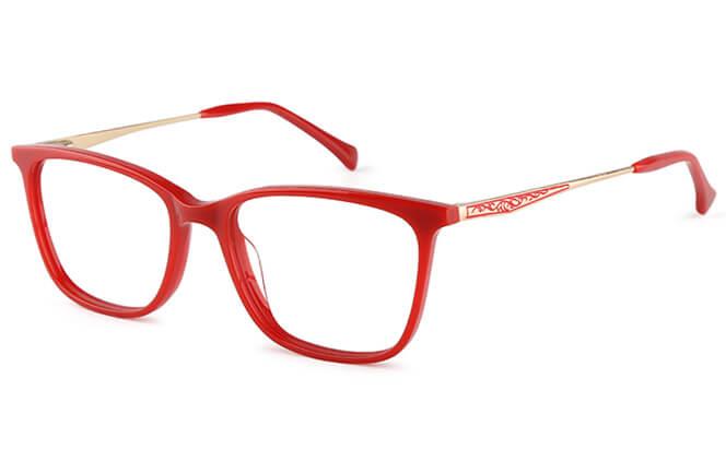 Abell rectangle Eyeglasses, Tortoiseshell;red