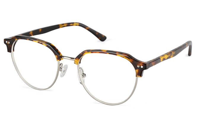 Anstice Browline Oval Eyeglasses, Gold;tortoiseshell;other;silver
