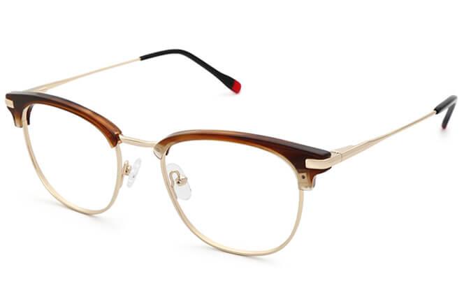 Manda browline Eyeglasses, Brown;purple
