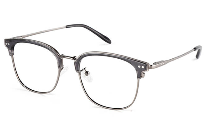 Bertie Browline Rectangle Eyeglasses, Tortoiseshell;silver;grey