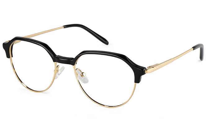 Barrie Oval Browline Eyeglasses, Silver;tortoiseshell;gold;pink