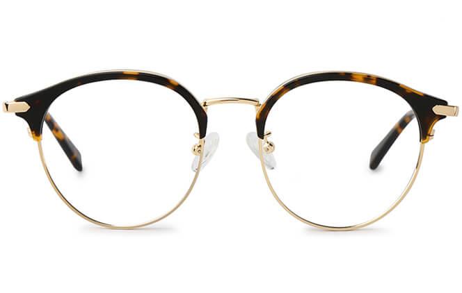 Fay Round Browline Eyeglasses