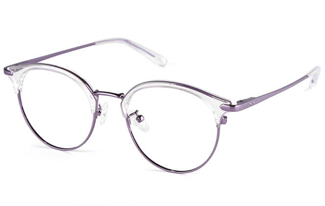 Fay Round Browline Eyeglasses, Black;tortoiseshell;purple