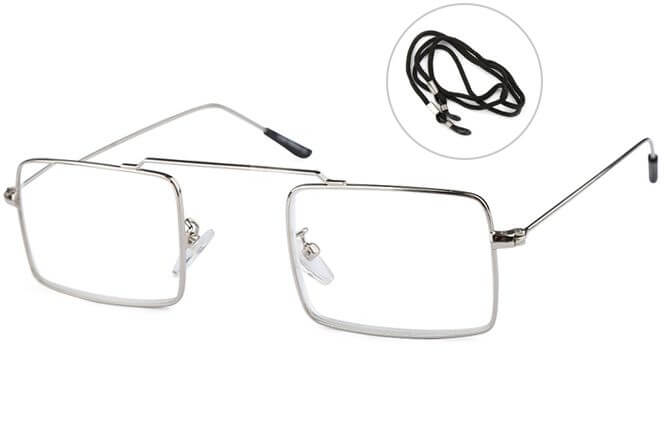 Allison Rectangle Readers Glasses, Sliver